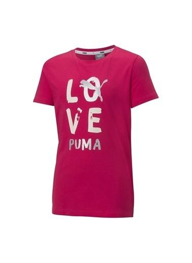 Puma Puma Kız Çocuk Koyu Pembe Bisiklet YakaT-Shirt Pembe